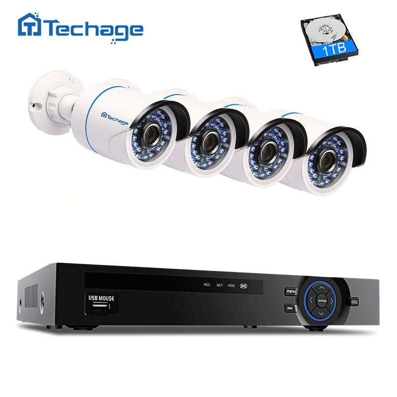 best price techage 4ch 1080p poe nvr kit security camera cctv system
