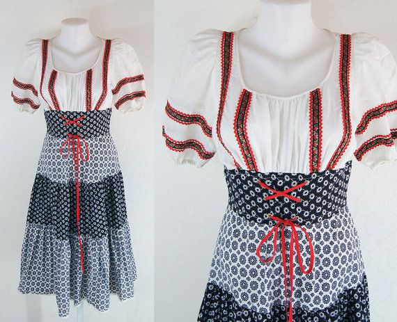 vintage Balkans 60's Beautiful woman  black red white flowers Romania Bulgaria sixties dress size S - M   FREE Shipping
