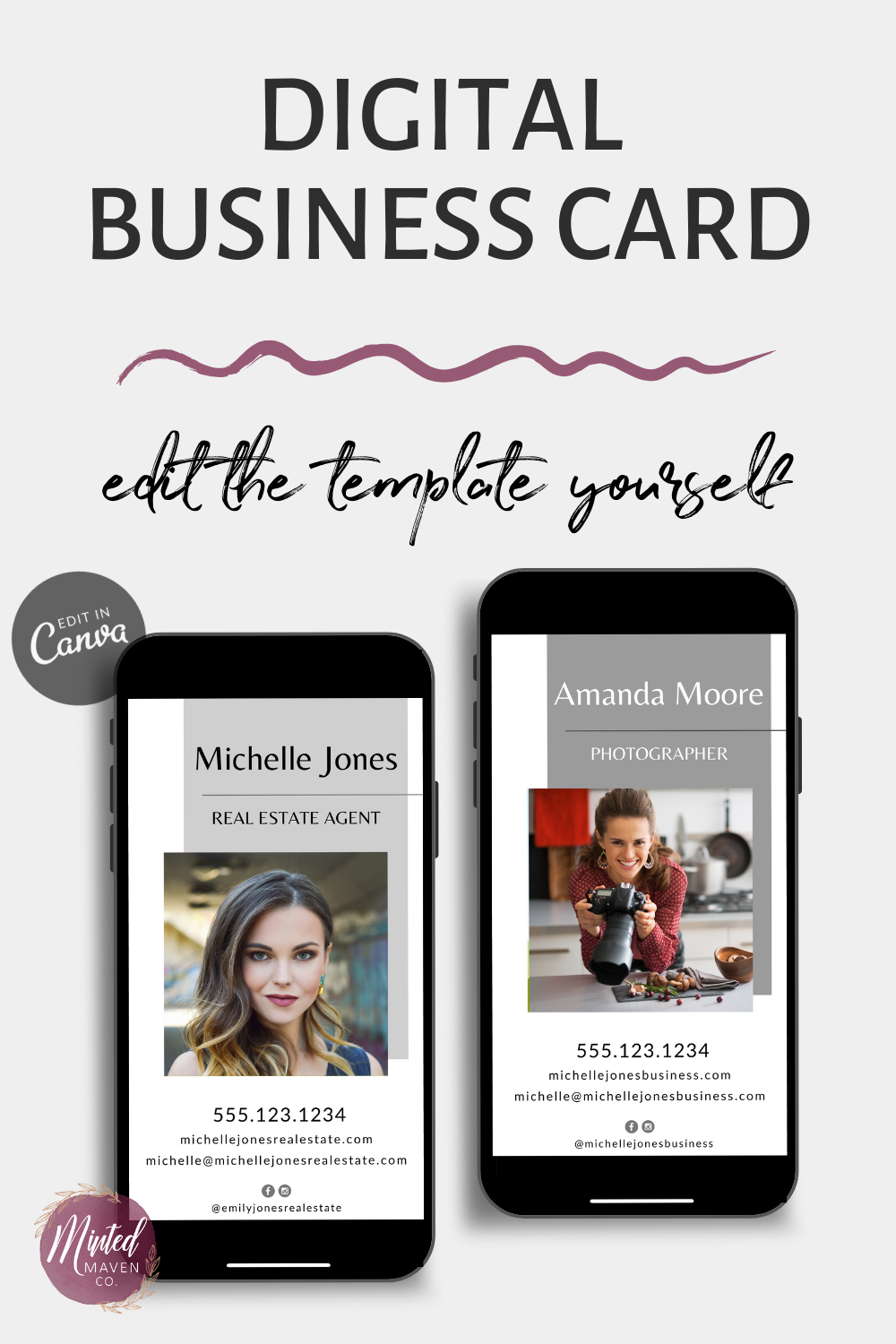 Modern Digital Business Card Template Easy To Edit In Canva Digital Business Card Modern Business Cards Design Business Card Modern