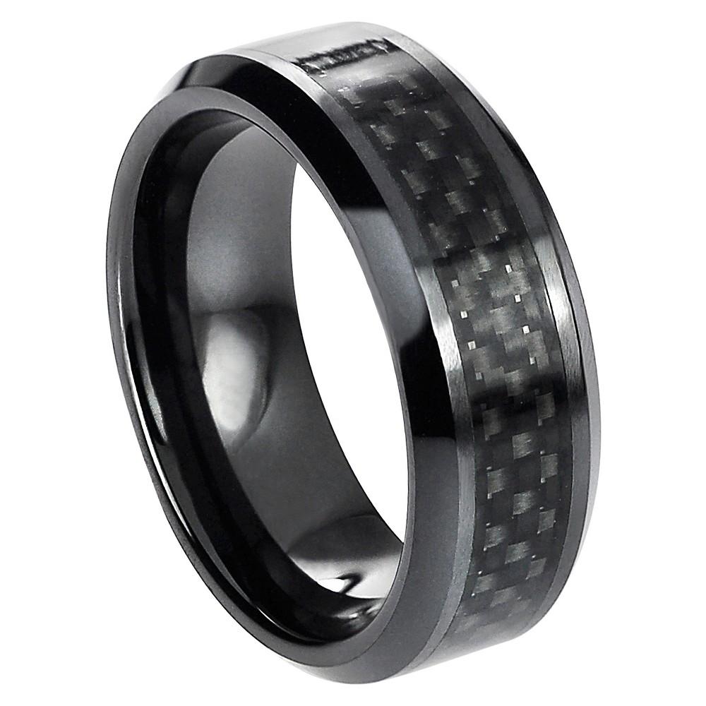 Mens daxx ceramic band with black carbon fiber inlay