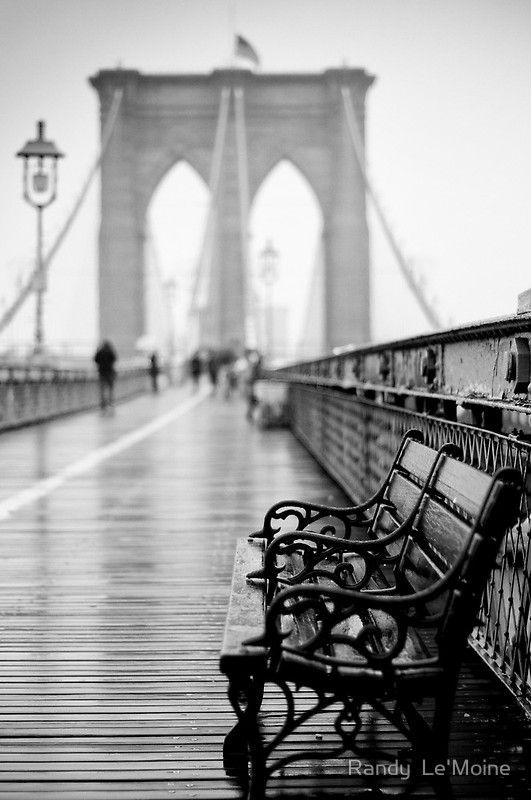 'Brooklyn Bridge and Benches' Canvas Print by Randy  LeMoine