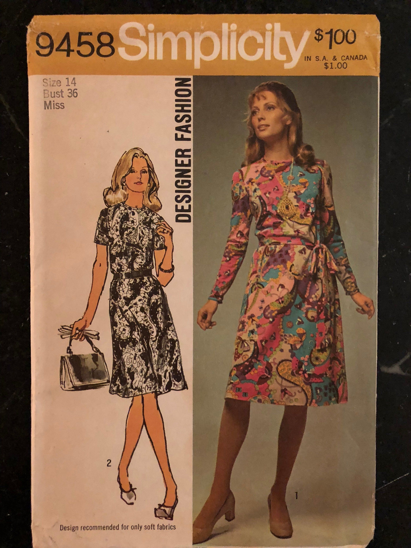 Vintage Simplicity Designer Pattern 9458 Las Pucci Style Dress Size 14 By Purpleirisvintage On Etsy