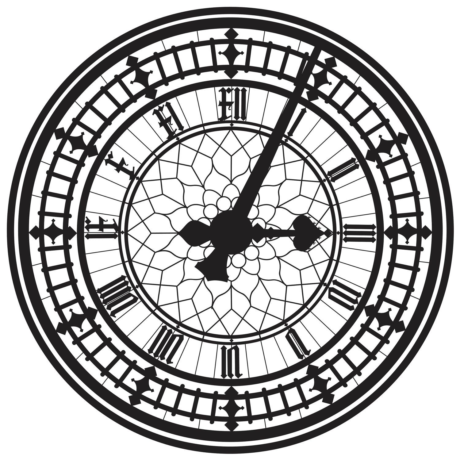 Line Drawing Clock Face : This is the big ben clock face in london silhouettes