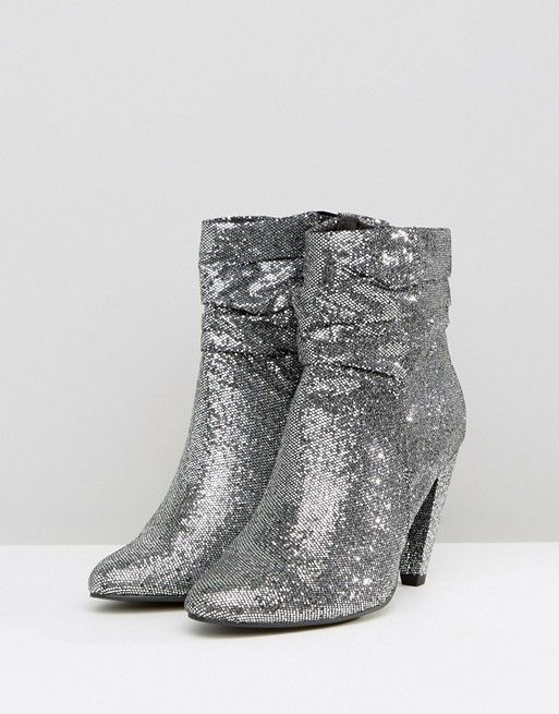 45fe85fe1c9 New Look Wide Fit Slouch Glitter Ankle Boot | Shoes | Boots, Silver ...