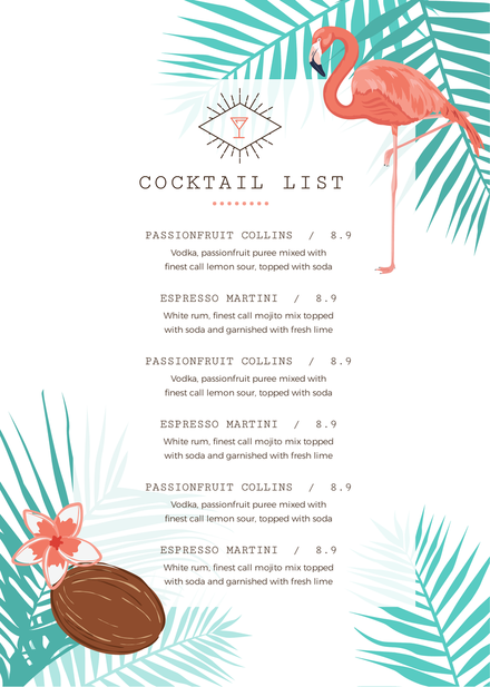 Tropical Cocktail List Menu Template With Flamingos And