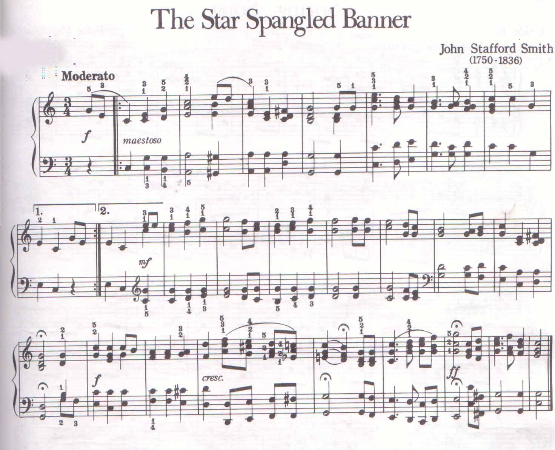 The American National Anthem Free Printable Sheet Music