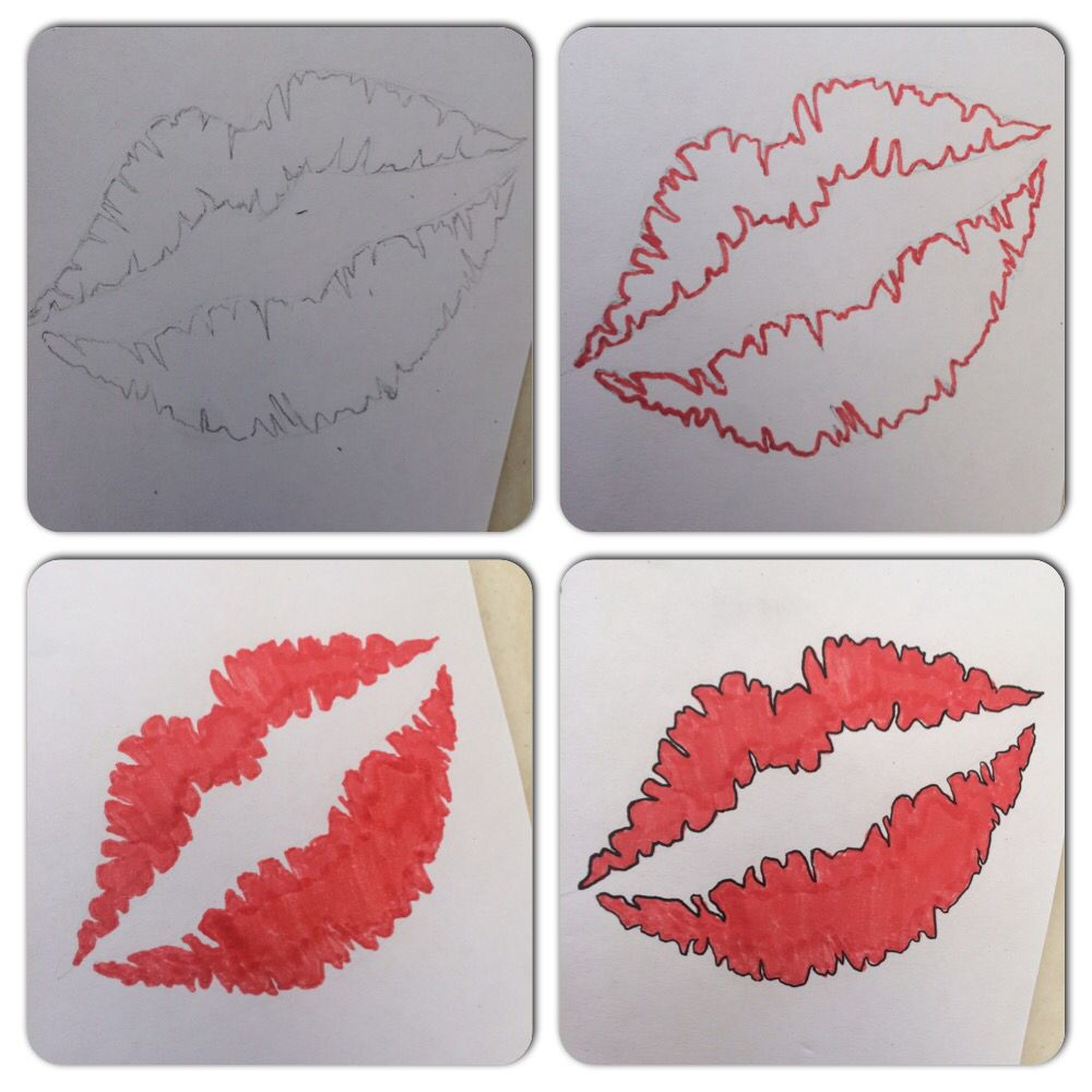 Drawing A Kiss Mark Kiss Mark Drawings Lips Print