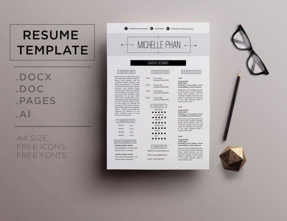 modern resume template minimal design cover letter reference letter professional cv template professional resume