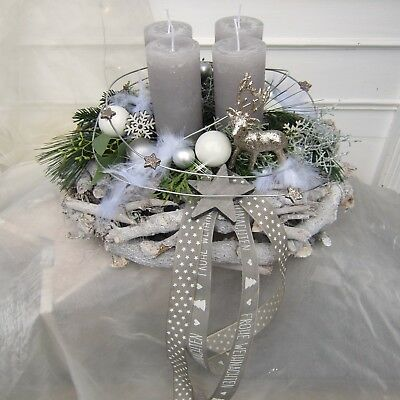 Photo of Wooden wreath with glittering deer and feather-fresh or durable, color choice. everyone…