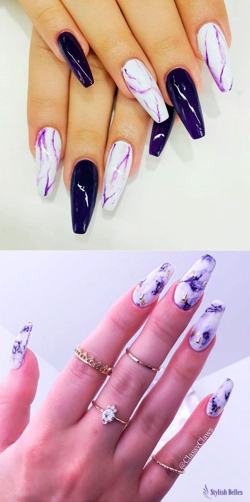 2dc68ec5a4dd Beautiful Purple Marble Coffin Nails Ideas! #coffinnails #marblenails  #purplenails