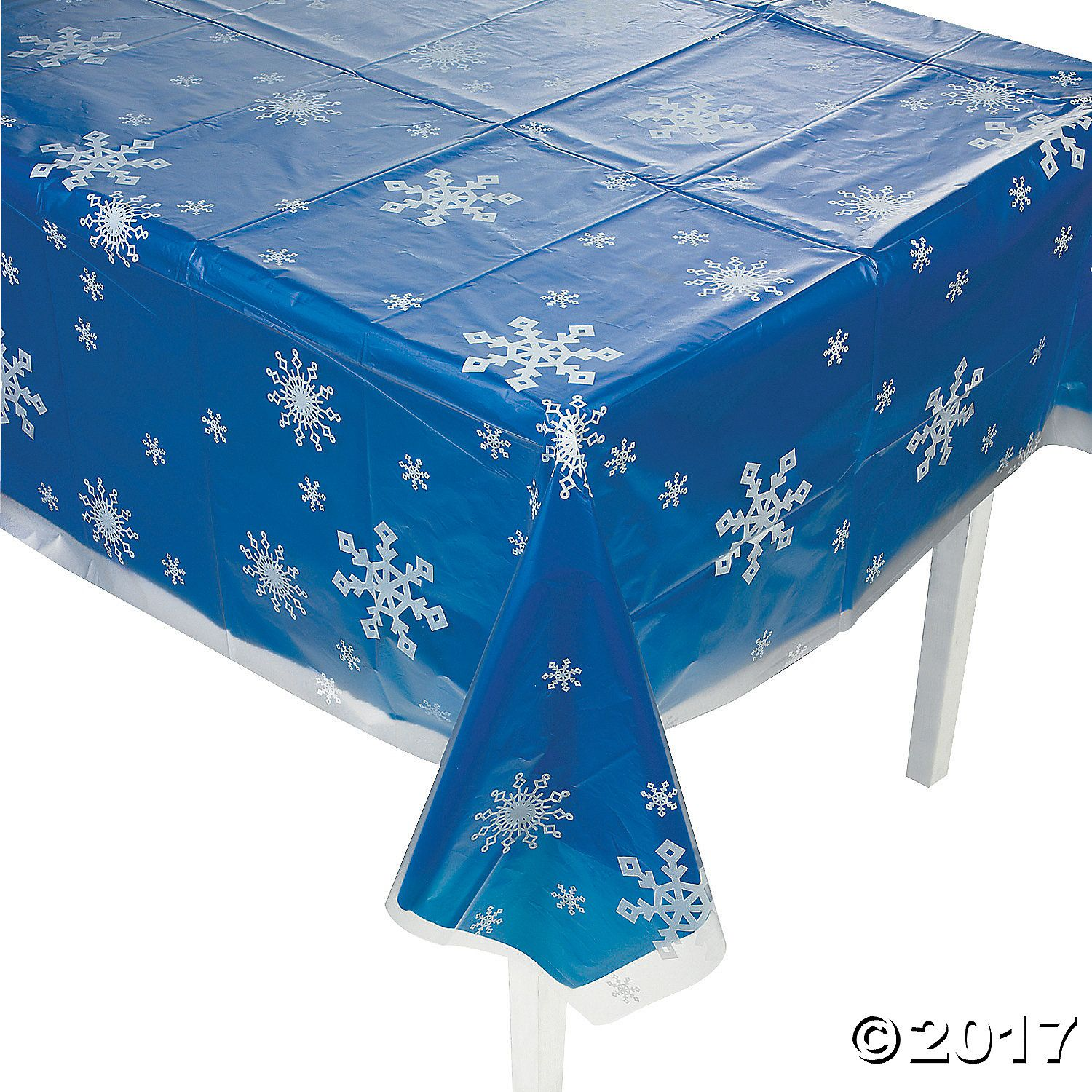 Clear snowflake print plastic tablecloth snowflake party