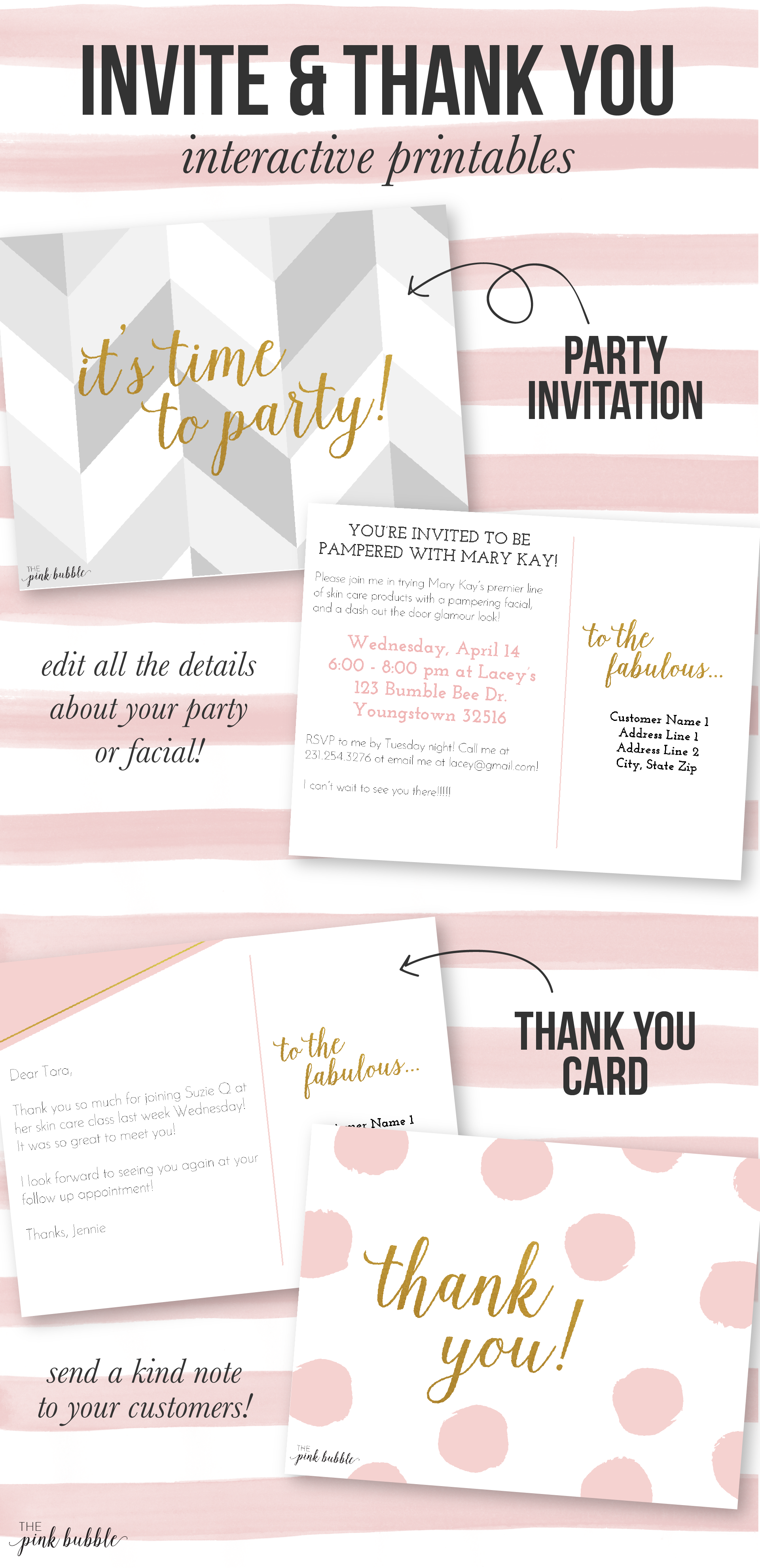 Customizable Mary Kay Party Invitation and Thank You card!! Find it ...