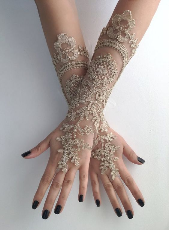 Amazon.com: Lace gloves. Ivory floral gloves. Fingerless
