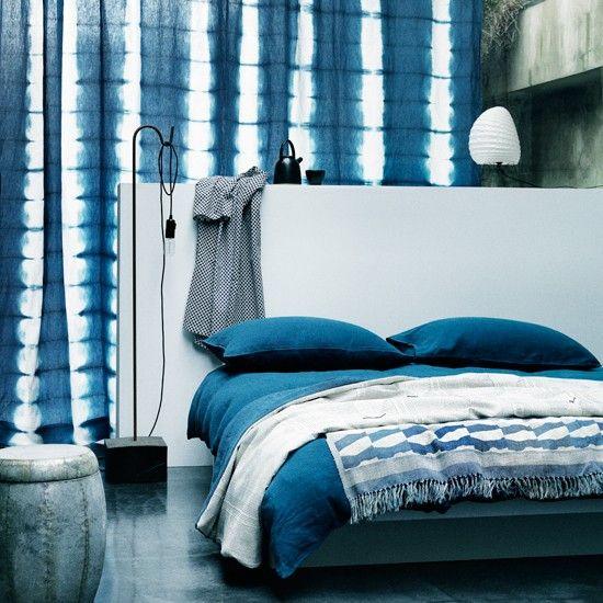 Blau-Weiß-östlichen-inspirierten Schlafzimmer …Wohnideen