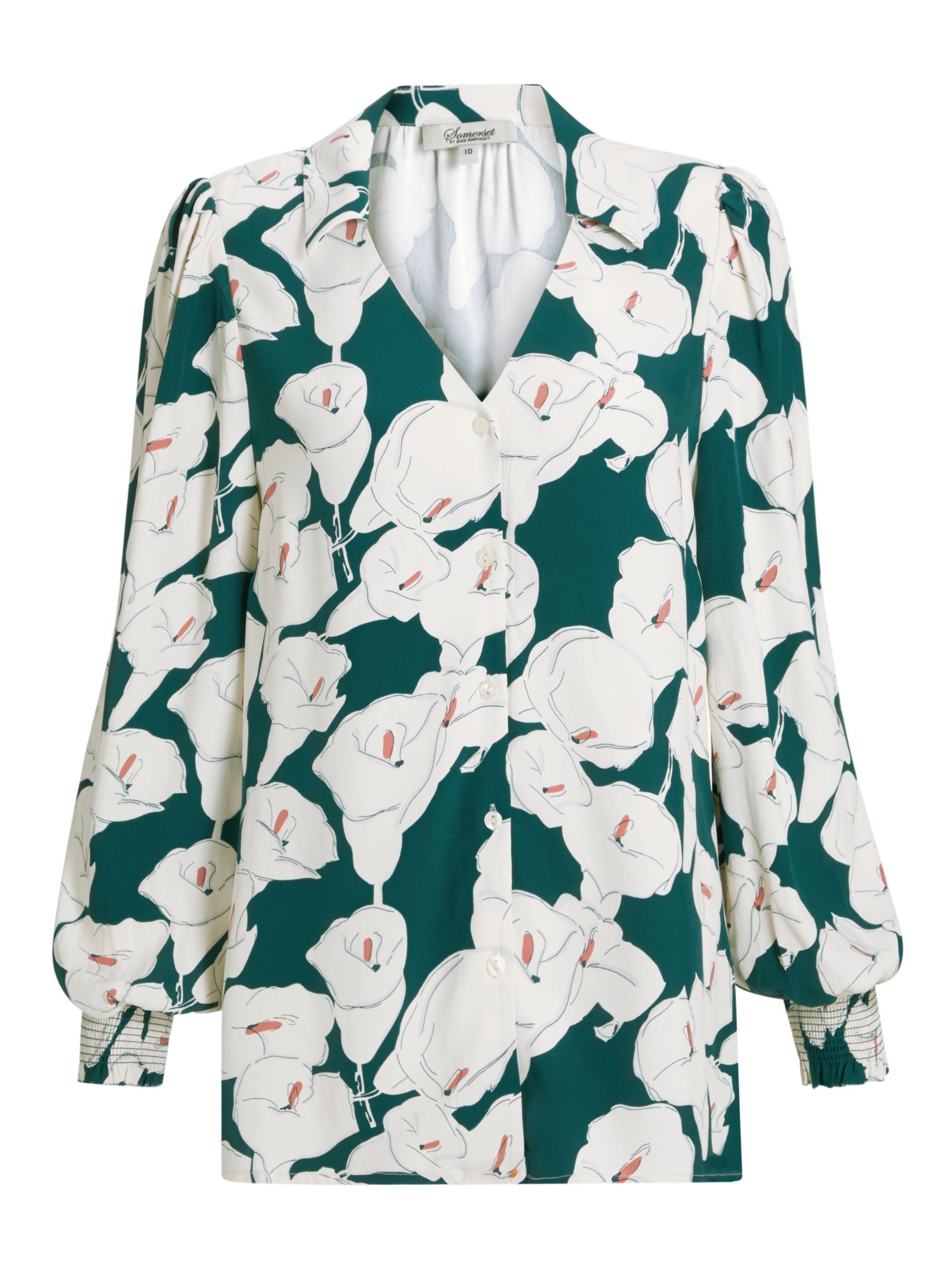 Somerset By Alice Temperley Lily Print V Neck Blouse Green In