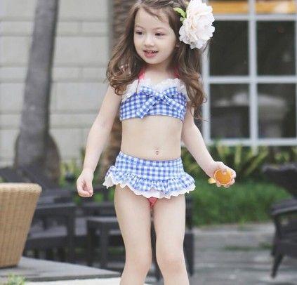 Blue And White Checks 3 Piece Fashionable Summer Swimsuit For Girls Baby Girl Swimwear Girls Bathing Suits Baby Swimwear
