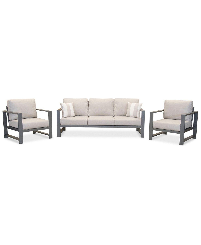 Aruba Grey Aluminum Outdoor 3 Pc Seating Set 1 Sofa 2 Club Chairs With Sunbrella Cushions Created For Macy S Furniture