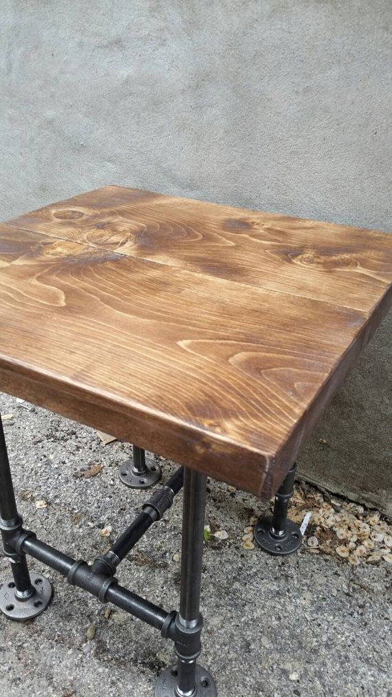 Industrial pipe and wood side table rustic by PipeAndWoodDesigns