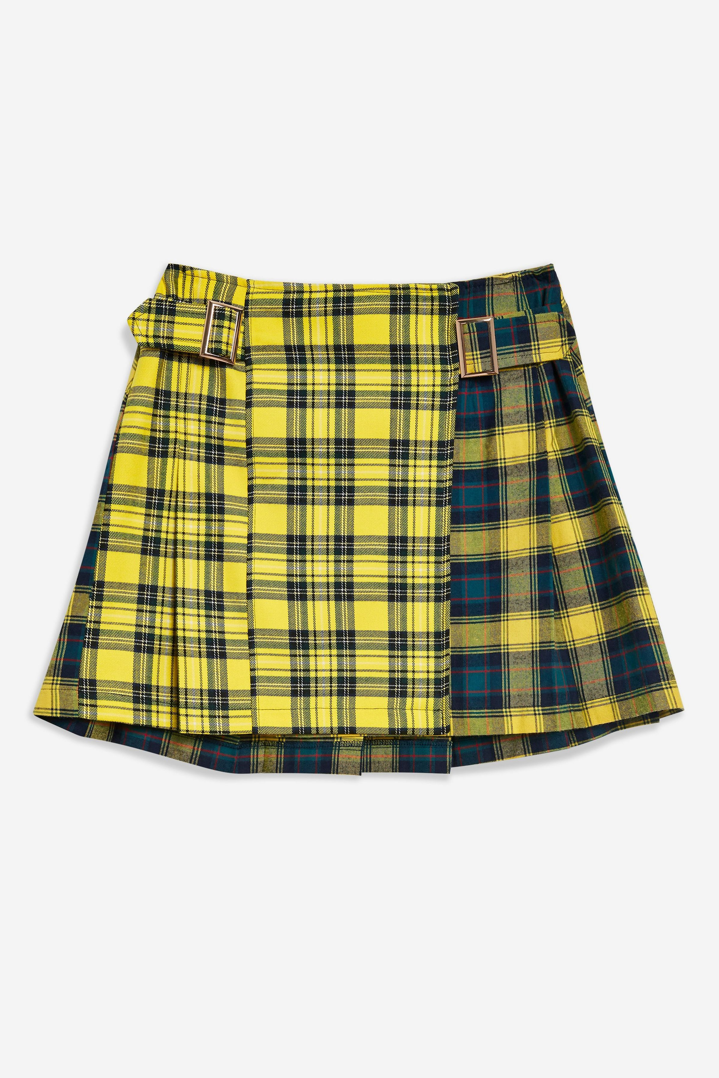 e7b00773c84 PETITE Mix Check Buckle Kilt Mini Skirt