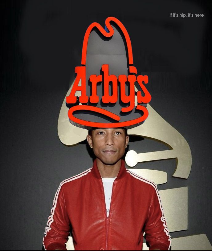 Pharell Williams at the 2014 Grammy Awards. #arbys #pharell #fashion