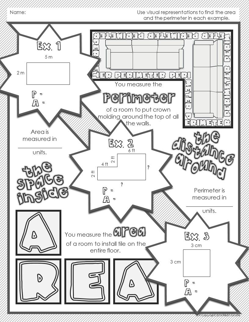 Area & Perimeter Doodle Notes Math notes, Math notebooks