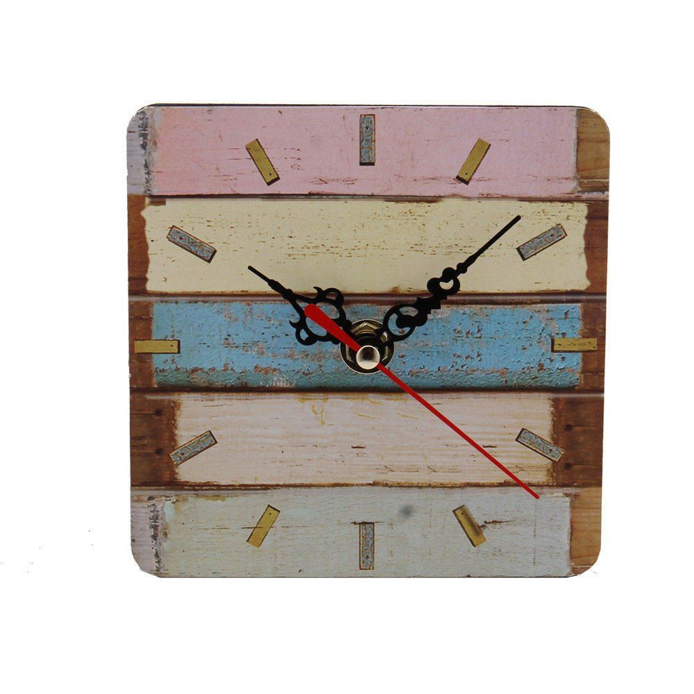 Clock Tosangn Distressed Style Silent Wooden Home Office Wall C