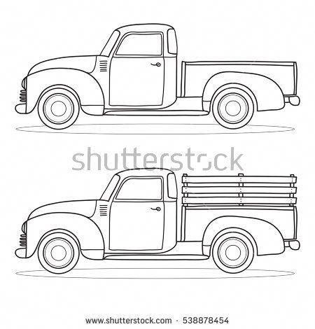 Old Pickup Trucks Pickuptrucks Christmas Red Truck Vintage Drawing Truck Coloring Pages