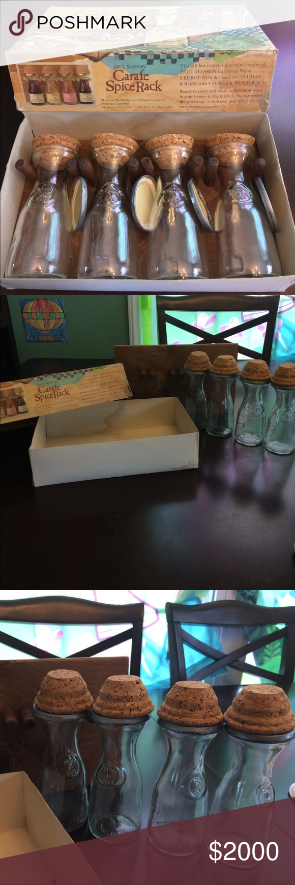 1970's vintage Paul Mason set Looking for the perfect gift for the collector who has everything?  You found one!  Very rare and HTF with all of the original pieces...see pics.  4 carafes, 4 corks, 4 metal lids, wall rack, and box.  Jars are all chip free.  Corks are free of moisture damage and are like new.  Hanging board is a peg board.  If you are hanging this I would reinforce the pegs with glue ;-).  The box is damaged, but is the original packaging.  Any packaging inserts and labels are…