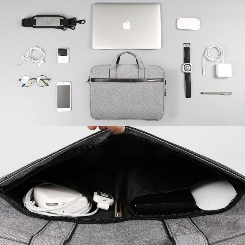 Large Capacity Laptop Handbag For Men Women Travel Briefcase Bussiness Notebook Bag For 14 15 Inch Black
