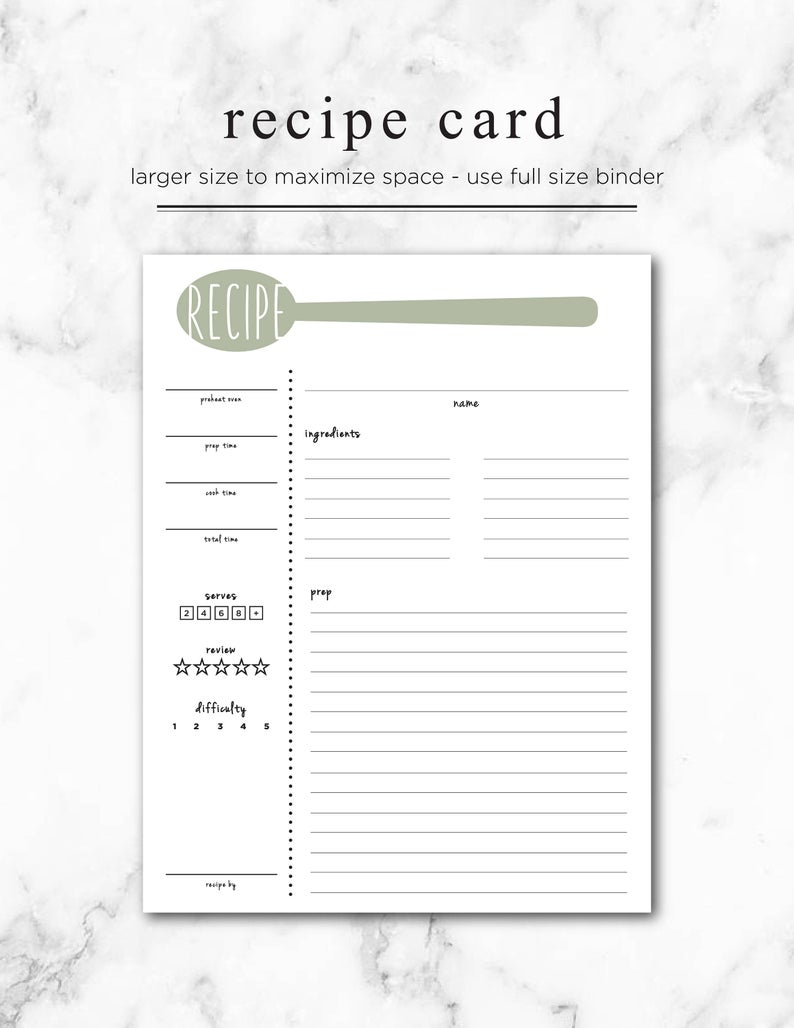 Recipe Card Printable Large Recipe Card 8 5x11 Recipe Page Full Sized Recipe Card Meal Prep And Planning Menu In 2021 Recipe Cards Template Printable Recipe Cards Recipe Book Templates