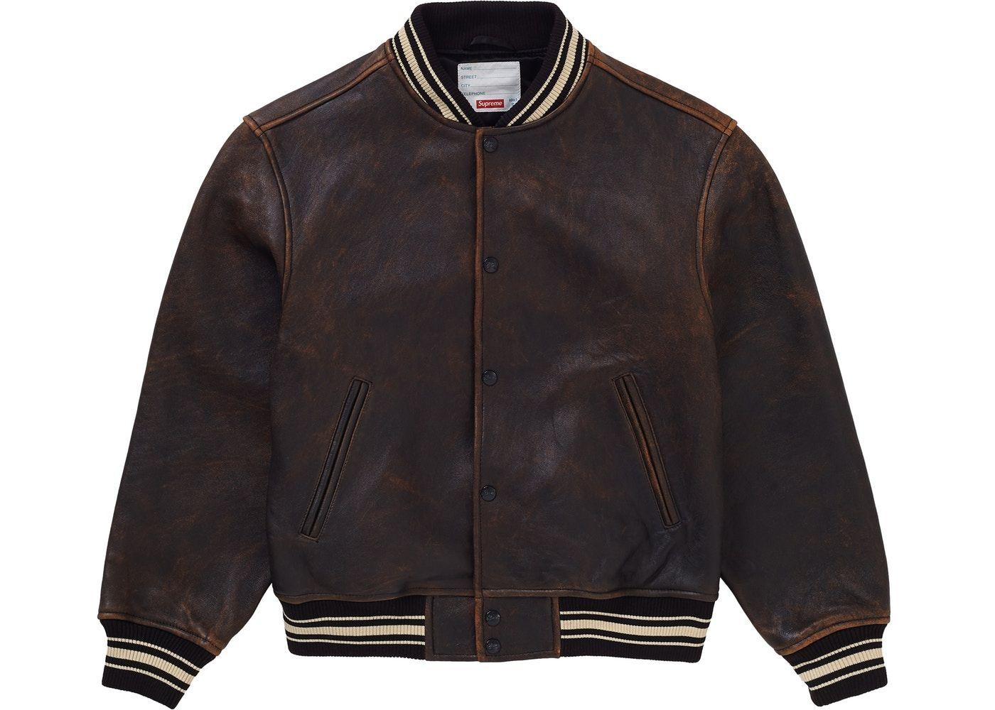 Supreme Worn Leather Varsity Jacket Black in 2020