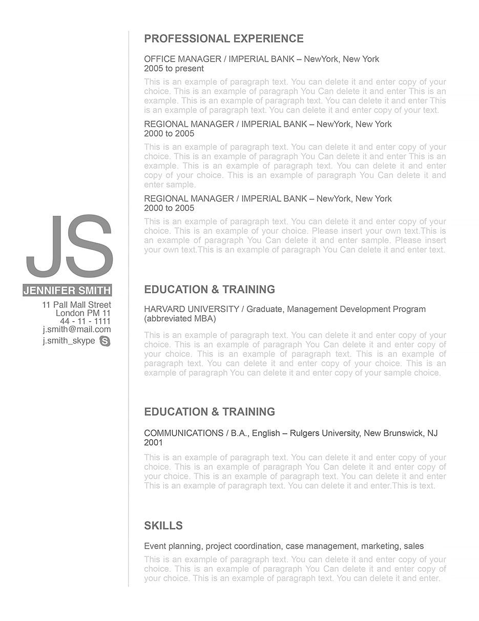 Elegant Resume Template 110540 Choose From Over 100 Professionally Designed Templates In Microsoft Word And IWork Pages Fast Easy To Use