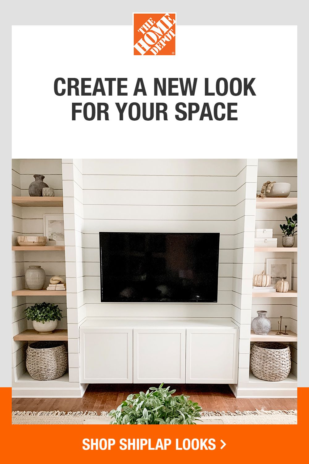 Find a variety of shiplap-inspired looks that fit your budget. Create a new look with how-to guides and tool rentals to help you along every step of your project. Tap to shop shiplap looks at The Home Depot.