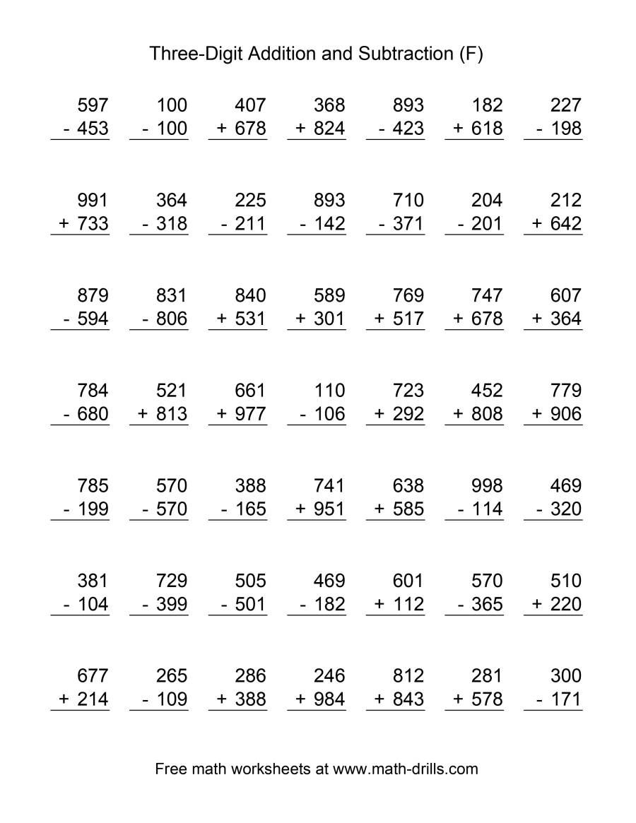 The Adding And Subtracting Three Digit Numbers F Math Worksheet Subtraction Worksheets Math Practice Worksheets Addition And Subtraction Worksheets Free worksheets adding and subtracting