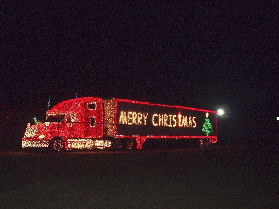 Christmas Light Display On Semi Tractor Trailer With Images