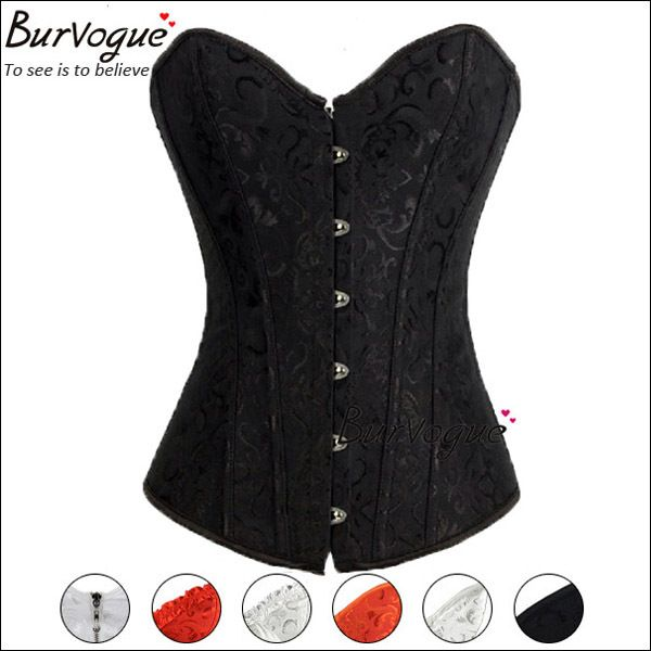 12d8081bda hot sale woman sexy corset top embroidery boned corset bustier dobby black white red  lace up plus size corselets lingerie