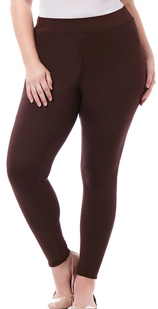 CATHERINES SECRET SLIMMER KNIT LEGGING - COFFEE BEAN - PLUS SIZE 5X (34/36W) #Catherines #CasualPantsLegging