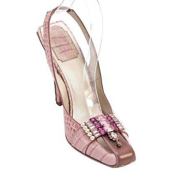d990cbdf679 Pre-Owned Christian Dior Rose Leather Crocodile Jeweled Pink Slingback...  ( 515