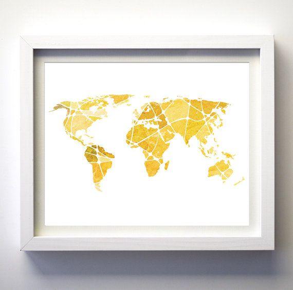 Yellow gold world map wall art travel wall decor minimalist modern ...