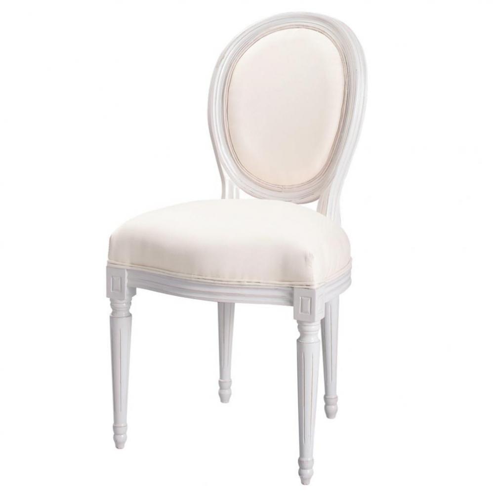 Chaise Medaillon En Coton Ivoire Et Bois Blanc Maisons Du Monde Affordable Furniture White Wood Chair