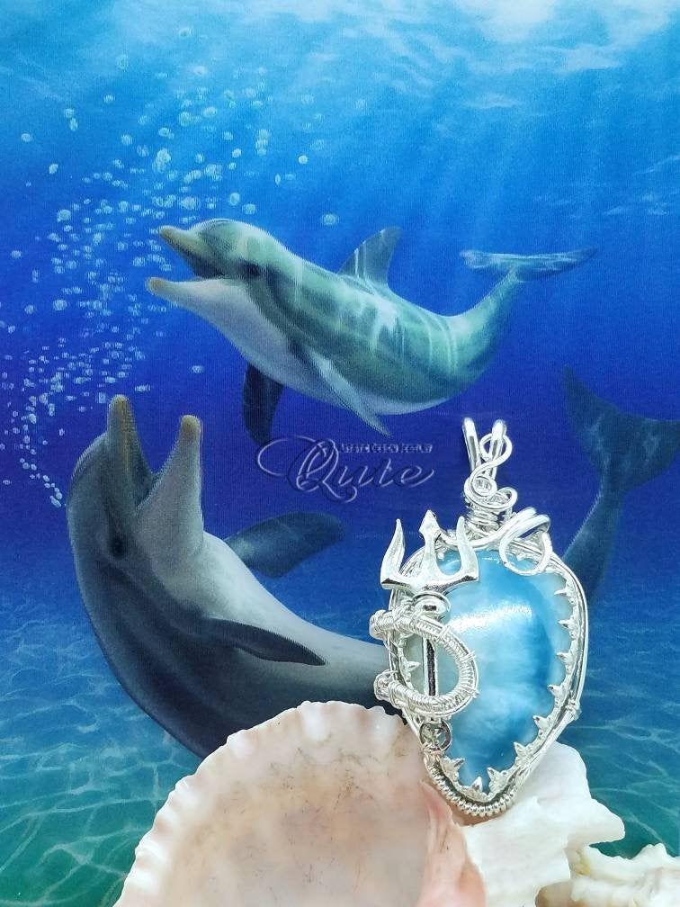Bezel Wrapsady Larimar /'Queen Atlanna/' Trident Silver Wire Pendant; Larimar Jewelry; Aquaman Inspired Jewelry; Wearable Art