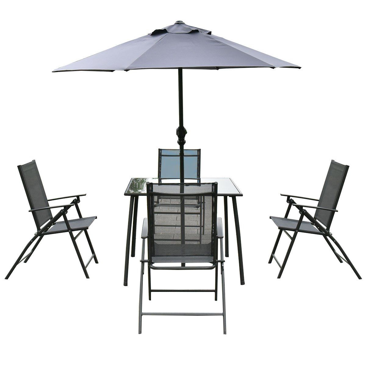 Giantex pcs patio garden set furniture folding chairs table with