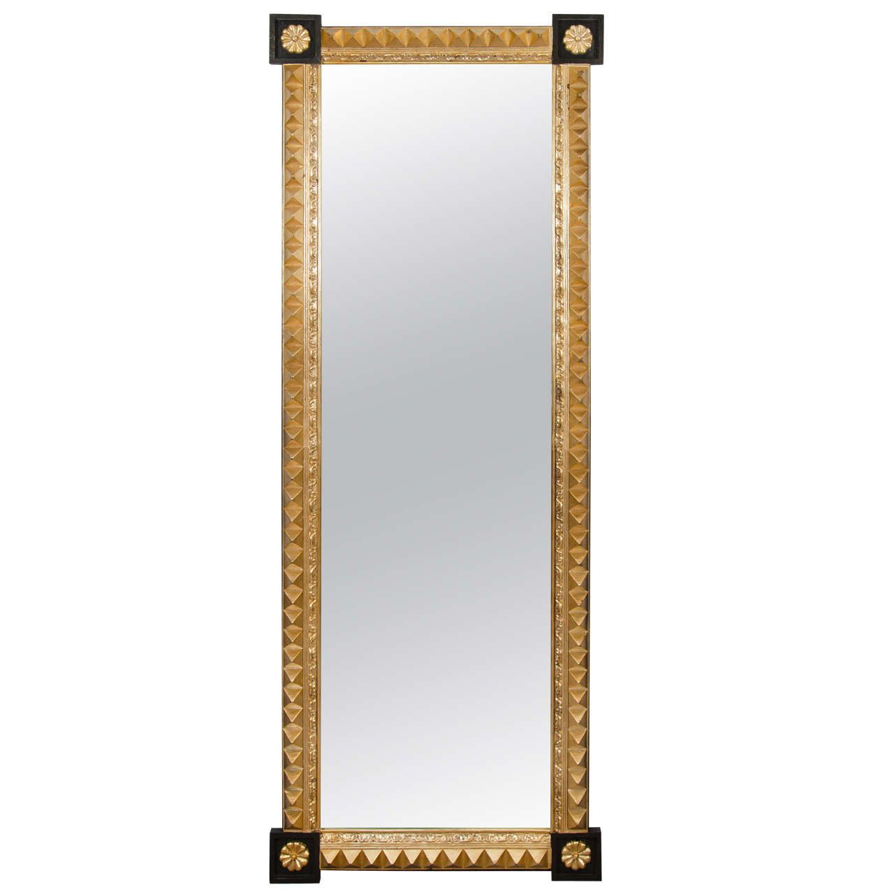 A Black and Gold Studded, Full-Length Mirror