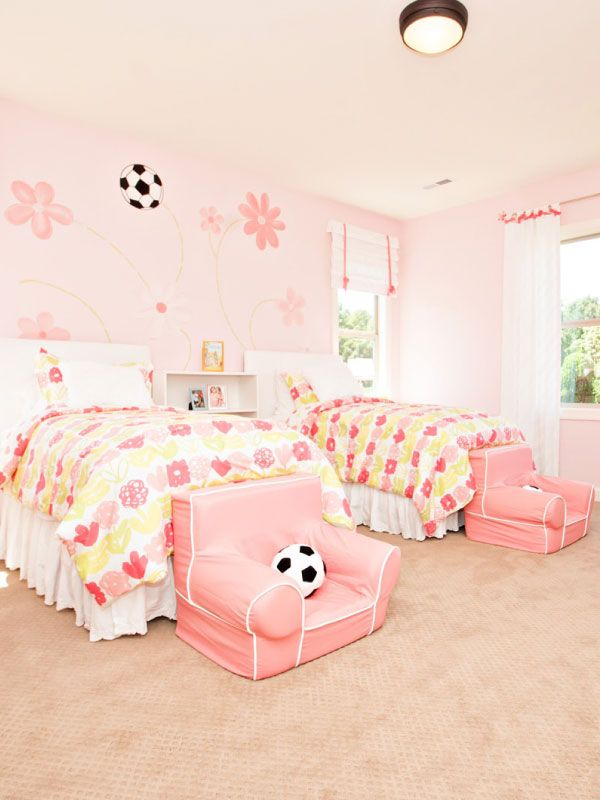 Pink and green Soccer themed girls bedroom! Fun wall mural featuring ...