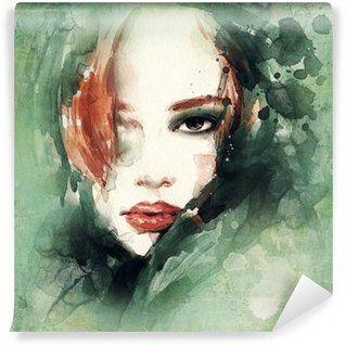 Vinyl Fototapete Frau Portrat Abstraktes Aquarell Mode