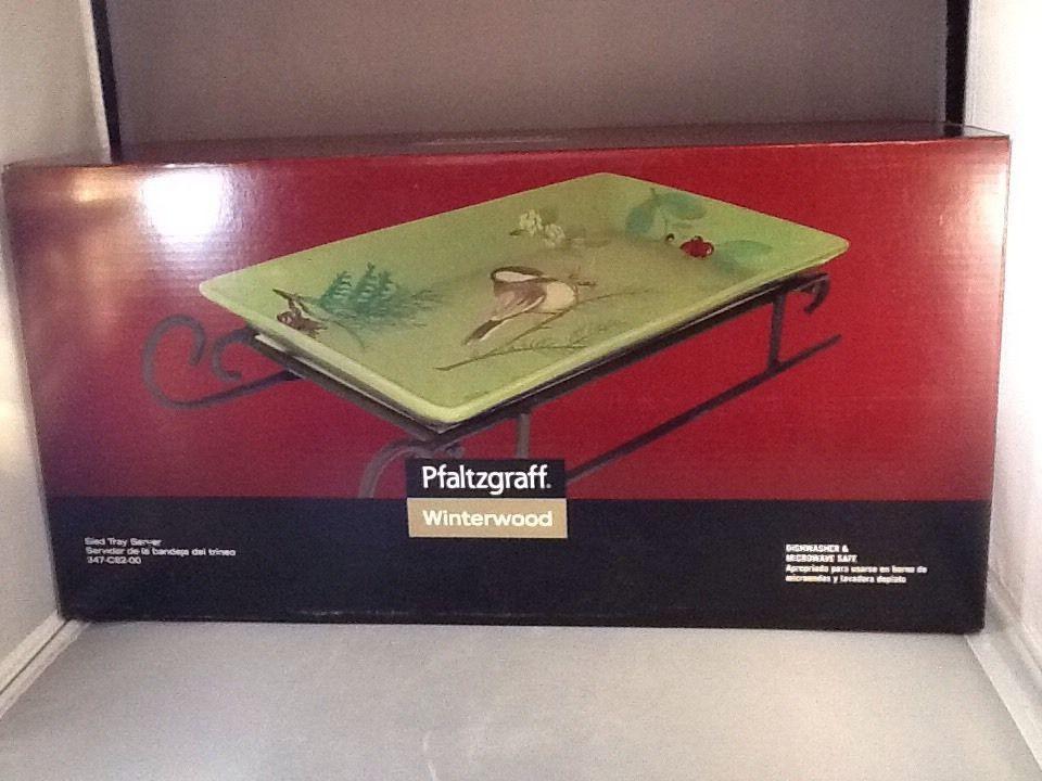 Excellent Pfaltgraff Winterwood NIB Sled Tray Server #Pfaltzgraff
