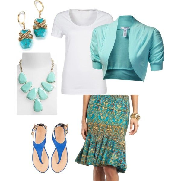 """Turquoise and Gold Gored Skirt"" by Andrea on Polyvore"