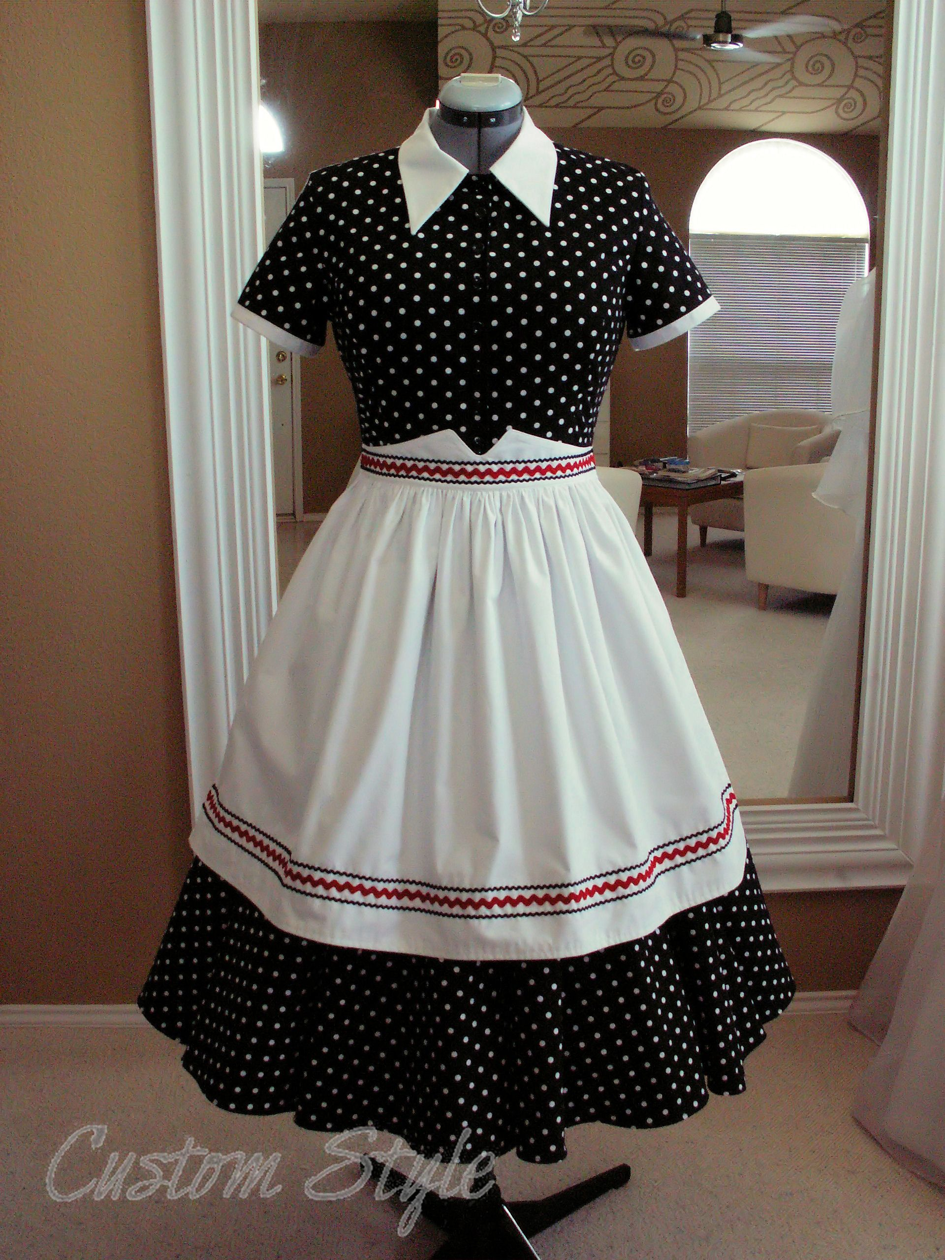 i love lucy black white polka dot dress with apron - I Love Lucy Halloween Costumes
