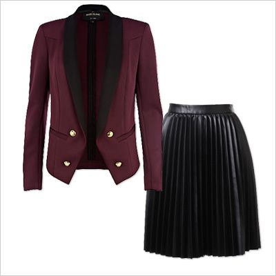 8 Fresh Outfit Pairings to Try This Holiday - Blazer + Pleated Leather Skirt from #InStyle