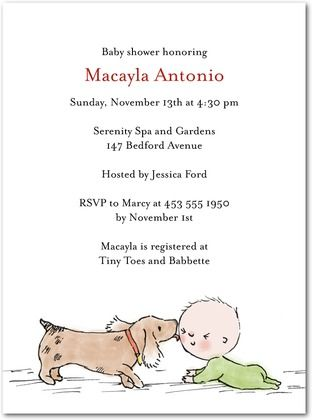 Puppy kisses baby shower invitations in white petite alma the puppy kisses baby shower invitations in white petite alma filmwisefo